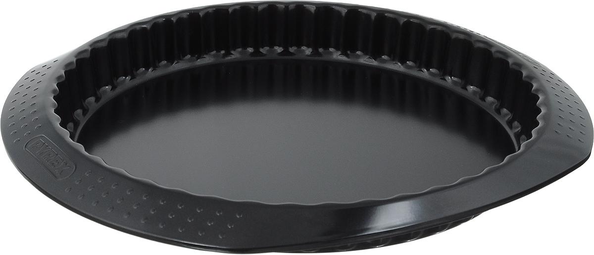 Форма для пирога Pyrex Classic, с антипригарным покрытием, диаметр 27 смMBCBF27/5046Форма для пирога Pyrex Classic изготовлена из углеродистой стали с антипригарным покрытием на всей поверхности. Благодаря антипригарному покрытию нет необходимости использовать подсолнечное масло. Пища не пригорает и не прилипает к стенкам, легко достается из формы, сохраняя при этом аккуратный внешний вид. Покрытие обладает высокой прочностью и длительным сроком эксплуатации, а также является абсолютно безопасным, так как не содержит PFOA, свинца и кадмия. Форма быстро и равномерно нагревается. Стенки изделия рельефные, имеются удобные ручки. Такая форма прослужит долго и обеспечит легкое и удобное приготовление вашей любимой выпечки. Можно использовать в духовке при температуре до 230°С и мыть в посудомоечной машине. Внутренний диаметр формы: 27 см. Размер формы (с учетом ручек): 33 х 29 см. Высота стенки: 3,5 см.