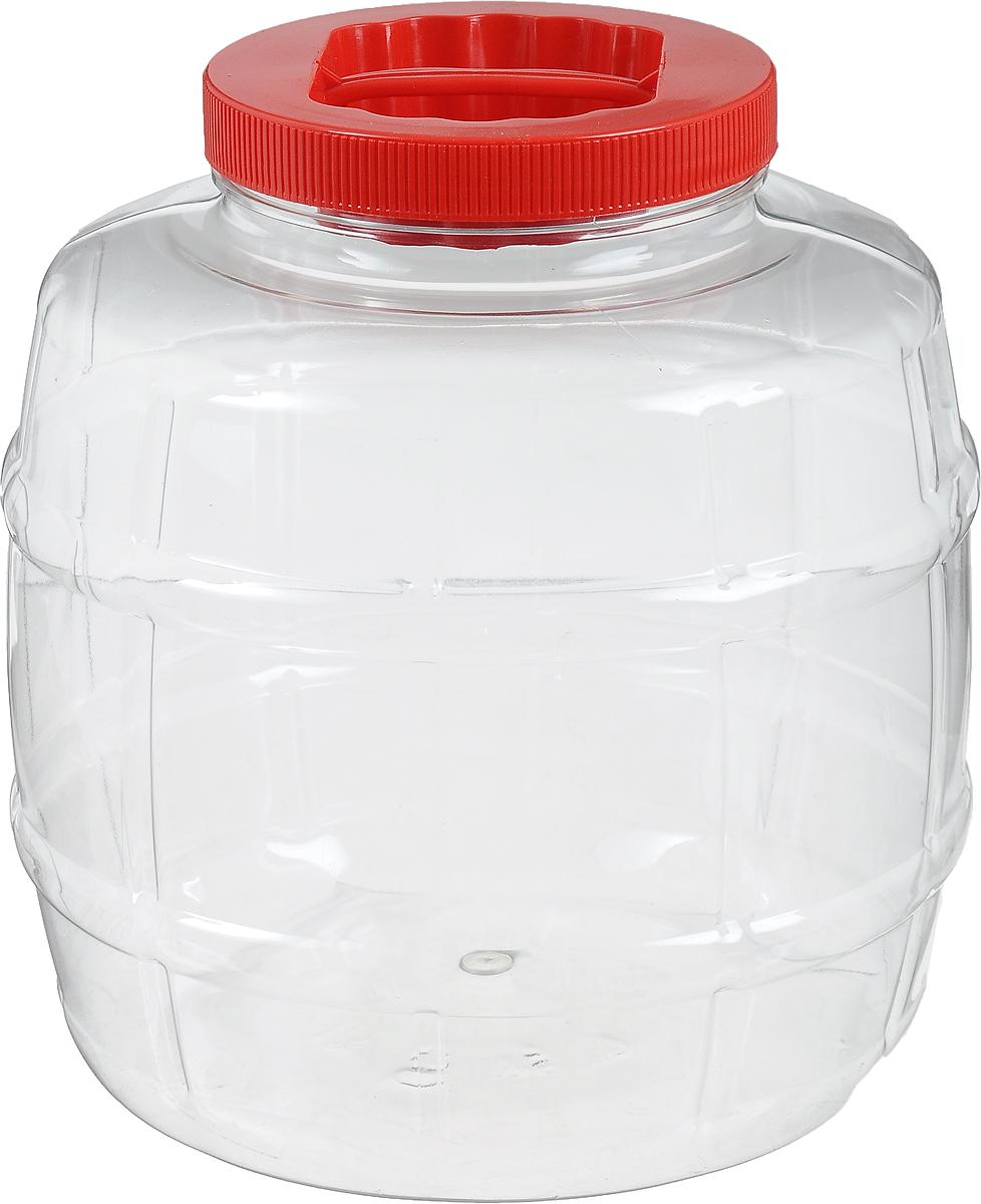 Емкость Альтернатива Бочонок, 5 лМ672_красныйЕмкость Альтернатива Бочонок изготовлена из ПЭТ (полиэтилентерефталат) и оснащена пластиковой закручивающейся крышкой. Изделие выполнено в форме бочонка с прозрачными стенками, что позволяет видеть содержимое. В такой удобной емкости можно хранить макароны, крупы, сахар, соль и многое другое. Высота емкости: 21 см. Диаметр по верхнему краю: 10,5 см. Диаметр дна: 17 см.