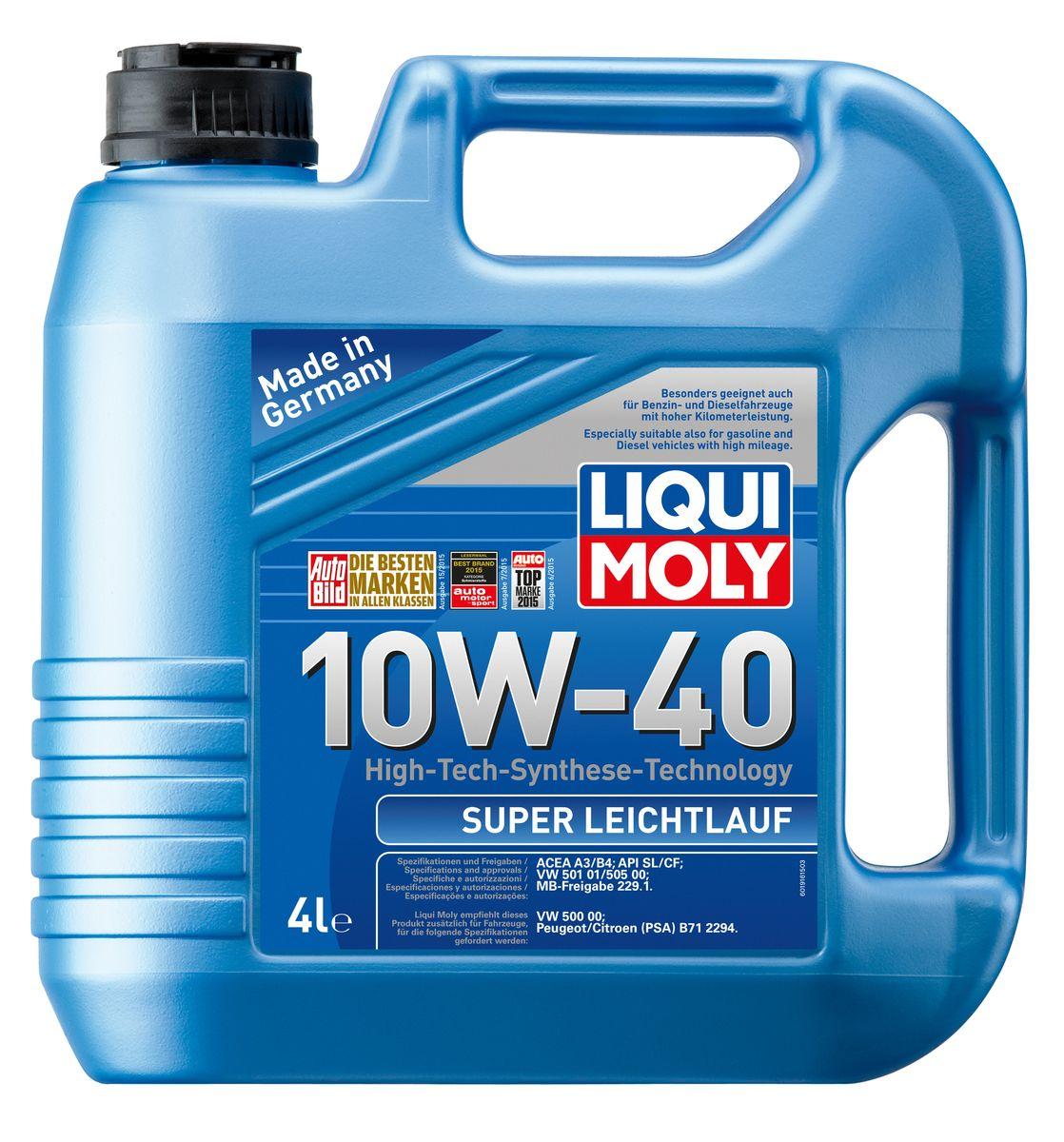 Масло моторное Liqui Moly Super Leichtlauf, НС-синтетическое, 10W-40, 4 л1916Масло моторное Liqui Moly Super Leichtlauf - универсальное моторное масло на базе гидрокрекинговой технологии синтеза (HC-синтеза). Удовлетворяет современным требованиям международных стандартов API и ACEA, а также имеет оригинальные допуски таких производителей, как Mercedes-Benz, Volkswagen Group. Масло имеет высокую стабильность к окислению и угару, поэтому может использоваться в нагруженных бензиновых и дизельных двигателях с турбонаддувом и интеркулером. В моторном масле Leichtlauf Super 10W-40 используются базовые компоненты, произведенные по новейшим технологиям синтеза и отличающиеся высочайшими защитными свойствами. Масло содержит современный пакет присадок, который обеспечивает высокий уровень защиты от износа и гарантирует стабильное поступление масла ко всем деталям двигателя. Особенности: - Высокая стабильность масляной пленки при высоких и низких температурах - Высокие противоизносные свойства - Обеспечивает оптимальную чистоту двигателя...
