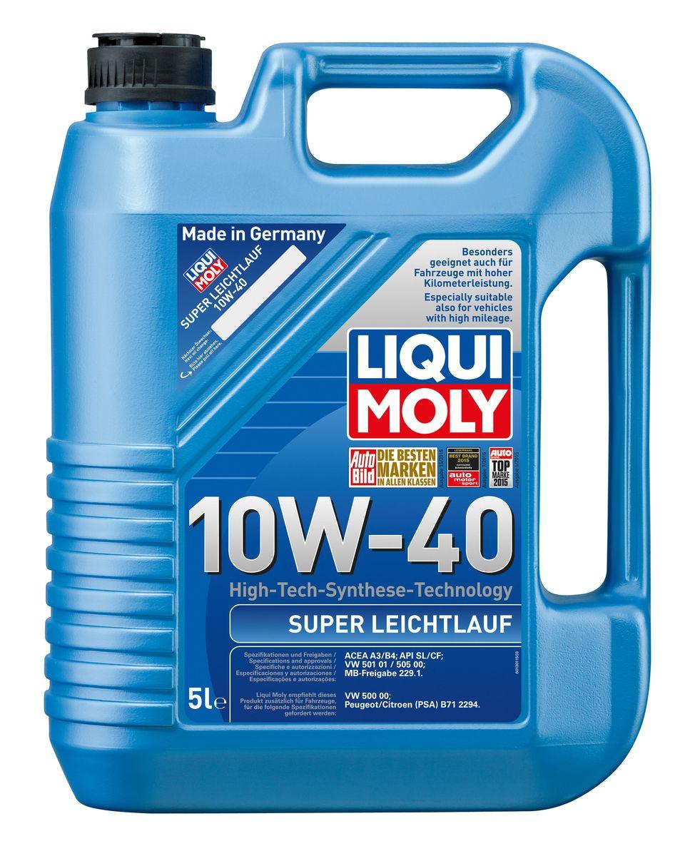 Масло моторное Liqui Moly Super Leichtlauf, НС-синтетическое, 10W-40, 5 л1929Масло моторное Liqui Moly Super Leichtlauf - универсальное моторное масло на базе гидрокрекинговой технологии синтеза (HC-синтеза). Удовлетворяет современным требованиям международных стандартов API и ACEA, а также имеет оригинальные допуски таких производителей, как Mercedes-Benz, Volkswagen Group. Масло имеет высокую стабильность к окислению и угару, поэтому может использоваться в нагруженных бензиновых и дизельных двигателях с турбонаддувом и интеркулером. В моторном масле Leichtlauf Super 10W-40 используются базовые компоненты, произведенные по новейшим технологиям синтеза и отличающиеся высочайшими защитными свойствами. Масло содержит современный пакет присадок, который обеспечивает высокий уровень защиты от износа и гарантирует стабильное поступление масла ко всем деталям двигателя. Особенности: - Высокая стабильность масляной пленки при высоких и низких температурах - Высокие противоизносные свойства - Обеспечивает оптимальную чистоту двигателя...