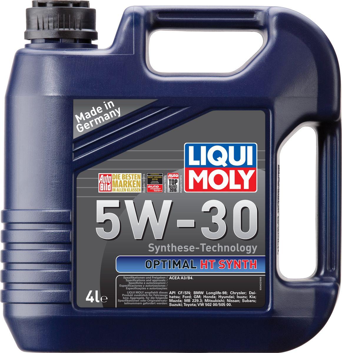 Масло моторное Liqui Moly Optimal HT Synth, НС-синтетическое, 5W-30, 4 л39001Масло моторное Liqui Moly Optimal HT Synth - универсальное моторное масло на базе гидрокрекинговой технологии синтеза (HC-синтеза). Удовлетворяет современным требованиям международных стандартов API и ACEA. Оптимально для современных моделей ВАЗ и иномарок с аналогичными требованиями. Отлично подходит двигателей с турбонаддувом и катализаторами. Масло обладает популярнейшим классом вязкости для современных автомобилей. Это современное моторное мало с хорошими антифрикционными свойствами высшего класса для всесезонного применения. Комбинация необычных базовых масел на основе гидрокрекинга и самой современной технологии присадок гарантирует получение моторного масла, которое снижает расход масла и топлива и заботится о быстрейшей смазке двигателя. Особенности: - легкий ход мотора, - высокая устойчивость смазки, - высокая стабильность, - превосходная устойчивость к старению, - быстрое снабжение маслом при низких...