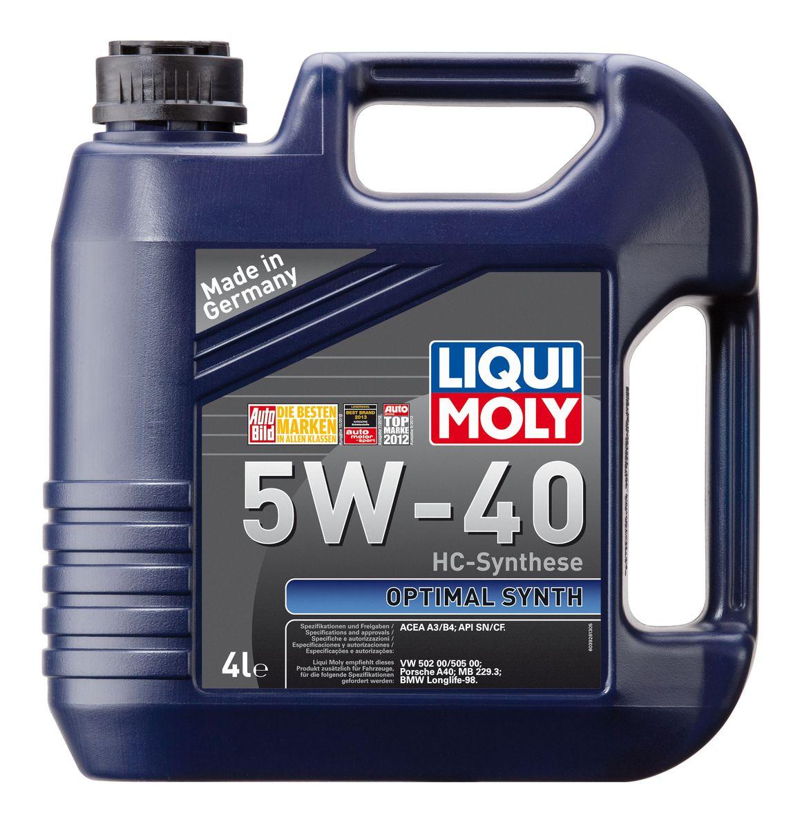 Масло моторное Liqui Moly Optimal Synth, НС-синтетическое, 5W-40, 4 л3926Масло моторное Liqui Moly Optimal Synth - это HC-синтетическое моторное масло с адаптированным для российских условий пакетом присадок. Благодаря новейшим технологиям синтеза и вязкости 5W-40 масло обеспечивает высокий уровень защиты и оптимальное смазывание деталей двигателя. Масло удовлетворяет современным международным стандартам API/ACEA. Масло создано на основе базовых компонентов, произведенных по технологии HC-синтеза, с учетом самых высоких требований, предъявляемых современными и мощными бензиновыми и дизельными двигателями. Оно обеспечивает отличную смазку при любых условиях эксплуатации. Одновременно снижается до минимума трение, в результате чего уменьшается расход топлива. Особенности: - Быстрое поступление масла к деталям двигателя при низких температурах - Надежная защита от износа - Низкий расход масла - Оптимальная чистота двигателя - Экономия топлива и снижение вредных выбросов - Проверено на турбированных двигателях...