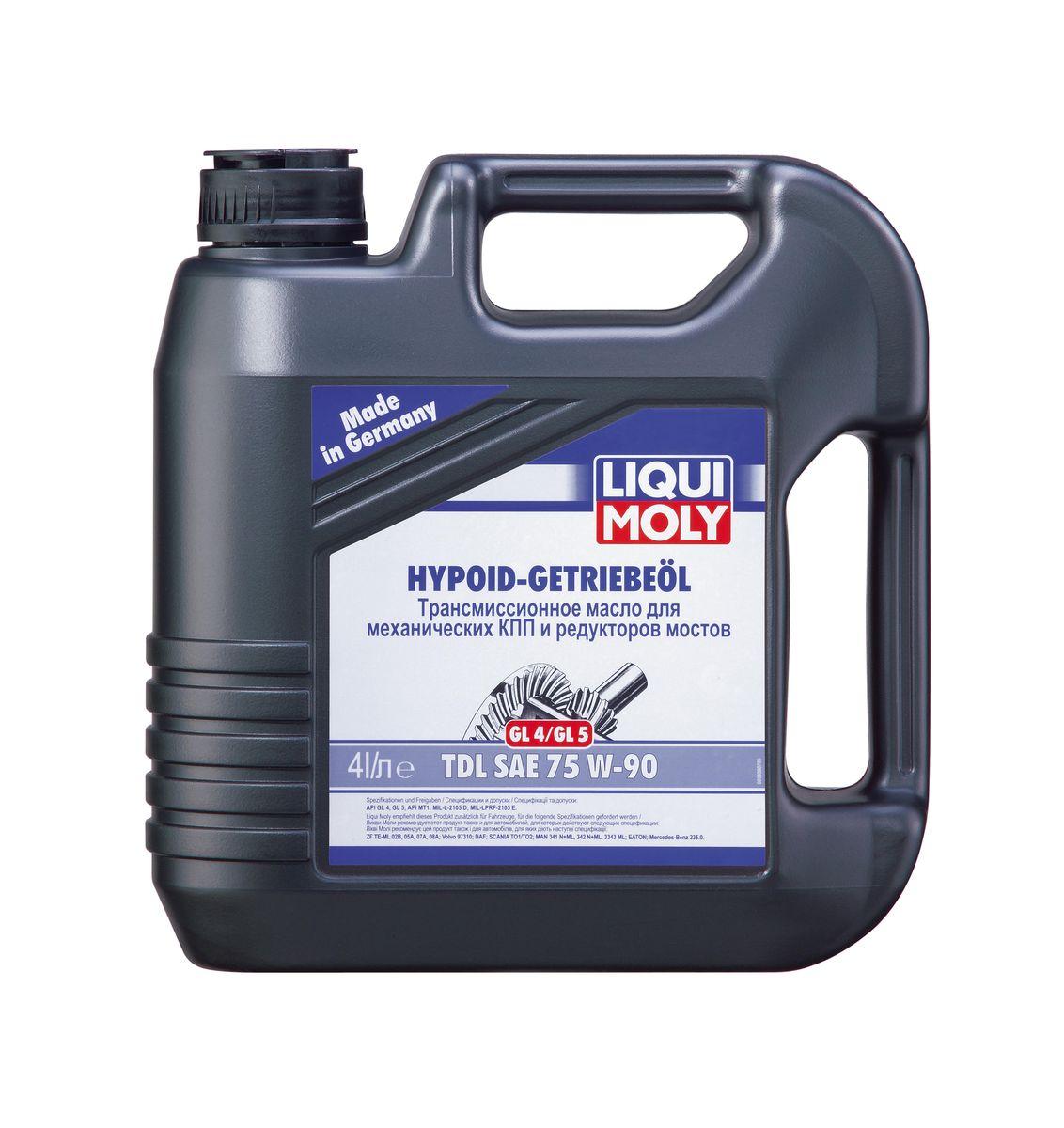 Масло трансмиссионное Liqui Moly Hypoid-Getriebeoil TDL, полусинтетическое, 75W-90, GL-4/GL-5, 4 л3939Масло трансмиссионное Liqui Moly Hypoid-Getriebeoil TDL относится к классификации TDL - Total Drive Line - один сорт масла для всех узлов трансмиссии. Отвечает требованиям международных классификаций трансмиссионных масел для механических коробок передач и гипоидных редукторов ведущих мостов. Полусинтетическое трансмиссионное масло класса GL-4/GL-5 предназначено для использования в механических коробках передач легковых и грузовых автомобилей, раздаточных коробках, гипоидных редукторах ведущих мостов. Масло обеспечивает четкое переключение передач и надежную защиту от износа. В масле Hypoid-Getriebeoil TDL 75W-90 используются высококачественные синтетические и минеральные базовые компоненты, отличающиеся отличной стойкостью к старению. Масло содержит специальный пакет присадок, обеспечивающий одновременно высочайшие защитные свойства и совместимость с материалами синхронизаторов. Особенности: - Имеет широкий температурный диапазон применения -...