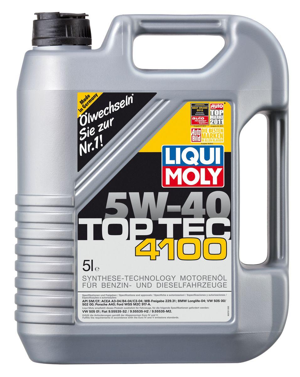 Масло моторное Liqui Moly Top Tec 4100, НС-синтетическое, 5W-40, 5 л7501Масло моторное Liqui Moly Top Tec 4100 рекомендуется для бензиновых и дизельных двигателей Mercedes-Benz, BMW, Ford (насос-форсуночные дизели), Honda, Fiat, для всех Porsche с оригинальными двигателями. HC-синтетическое малозольное (Mid SAPS) моторное масло для бензиновых и дизельных двигателей легковых автомобилей, оснащенных двойной системой нейтрализации отработавших газов (в том числе DPF). Соответствует экологическим нормам EURO 4 и выше. Отлично подходит при использовании природного и сжиженного газа (CNG/LPG). В моторных маслах Top Tec используются базовые компоненты, произведенные по новейшим технологиям синтеза и отличающиеся высочайшими защитными свойствами. Масла содержат специальный пакет присадок с пониженным содержанием соединений серы, фосфора и хлора, что обеспечивает совместимость со специфическими системами нейтрализации и обеспечивает минимальные выбросы вредных веществ. Особенности: - Сокращает вредные выбросы - Совместимо с...