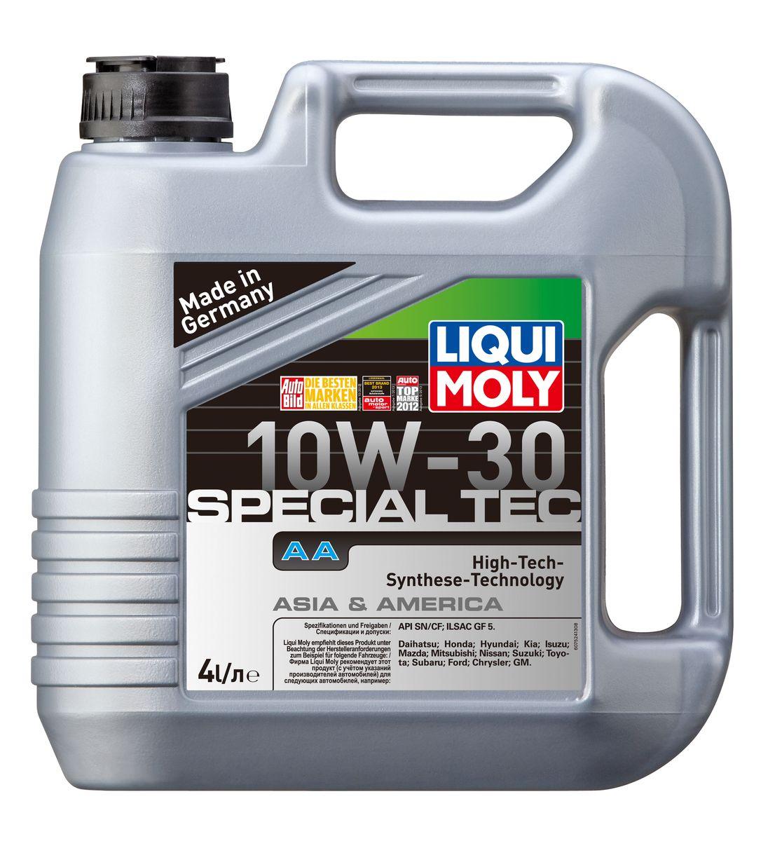 Масло моторное Liqui Moly Special Tec AA, НС-синтетическое, 10W-30, 4 л7524Масло моторное Liqui Moly Special Tec AA рекомендуется для автомобилей Honda, Mazda, Mitsubishi, Nissan, Daihatsu, Hyundai, Kia, Isuzu, Suzuki, Toyota, Subaru, Ford, Chrysler, GM. Современное HC-синтетическое энергосберегающее моторное масло специально предназначено для всесезонного использования в большинстве двигателей современных американских и азиатских бензиновых автомобилей. Также подходит для двигателей предыдущих поколений автомобилей. Базовые масла, полученные по технологии синтеза, и новейшие присадки составляют рецептуру моторного масла с отменной защитой от износа, снижающего расход топлива и масла, обеспечивающего чистоту двигателя. Особенности: - Высочайшие показатели топливной экономии - Сокращает эмиссию выхлопных газов - Отличная чистота двигателя - Совместимо с новейшими системами нейтрализации отработавших газов бензиновых двигателей - Высокая защита от износа и надежность смазывания - Очень низкие потери...