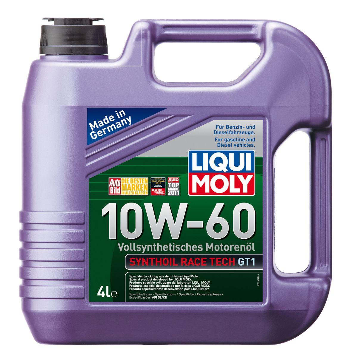 Масло моторное Liqui Moly Synthoil Race Tech GT1, синтетическое, 10W-60, 4 л7535Масло моторное Liqui Moly Synthoil Race Tech GT1 - 100% синтетическое моторное масло на базе полиальфаолефинов (ПАО) для спортивных автомобилей со специально подготовленными моторами. Свойства ПАО-синтетики и высокая вязкость позволяют обеспечить необходимую смазку и защиту деталей двигателя в условиях экстремальных нагрузок на двигатель, характерных для спорта. Использование новейших, полностью синтетических компонентов базового масла и специальных технологий в области создания присадок формирует на поверхностях деталей прочнейшую смазочную пленку, которая гарантирует непревзойденную защиту всех деталей двигателя, в том числе от пиковых перегрузок и разрушительного воздействия высоких температур. Особенности: - Высочайшая стабильность к экстремально высоким рабочим температурам - Чрезвычайно малые потери масла на испарение - Надежное поступление масла ко всем деталям двигателя даже в экстремальных условиях автогонок - Высочайшие защитные...