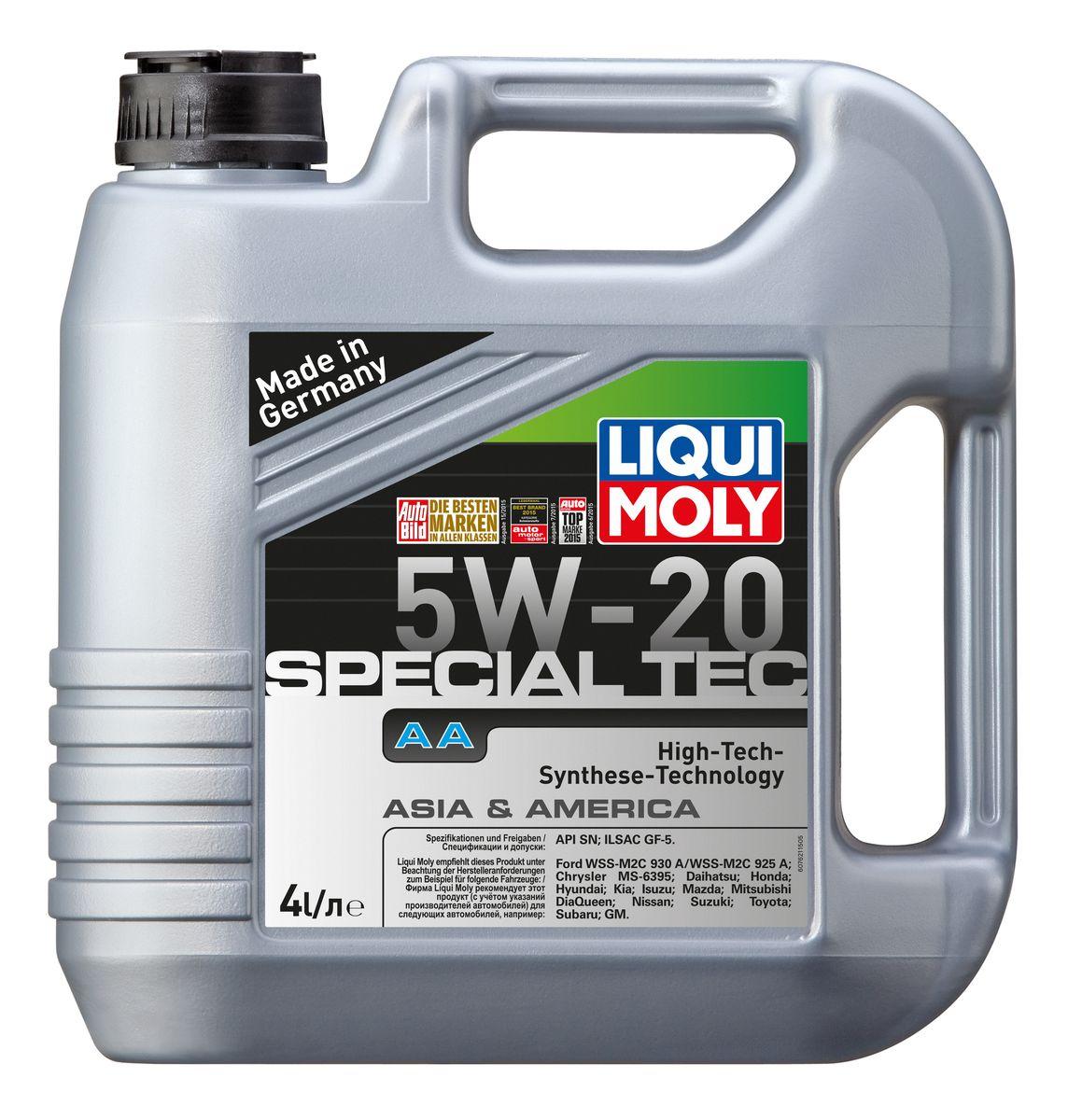 Масло моторное Liqui Moly Special Tec AA, НС-синтетическое, 5W-20, 4 л7621Масло моторное Liqui Moly Special Tec AA рекомендуется для автомобилей Honda, Mazda, Mitsubishi, Nissan, Daihatsu, Hyundai, Kia, Isuzu, Suzuki, Toyota, Subaru, Ford, Chrysler, GM. Современное HC-синтетическое энергосберегающее моторное масло специально разработано для всесезонного использования в двигателях американских и азиатских автомобилей. Благодаря классу вязкости 5W-20 данное масло отлично подходит для новейших двигателей Honda, произведенных для японского и американского рынков. Базовые масла, полученные по технологии синтеза, и новейшие присадки составляют рецептуру моторного масла с отменной защитой от износа, снижающего расход топлива и масла, обеспечивающего чистоту двигателя и максимально быстрое поступление к трущимся деталям. Особенности: - Быстрое поступление масла ко всем деталям двигателя при низких температурах - Высочайшие показатели топливной экономии - Сокращает эмиссию выхлопных газов - Отличная...