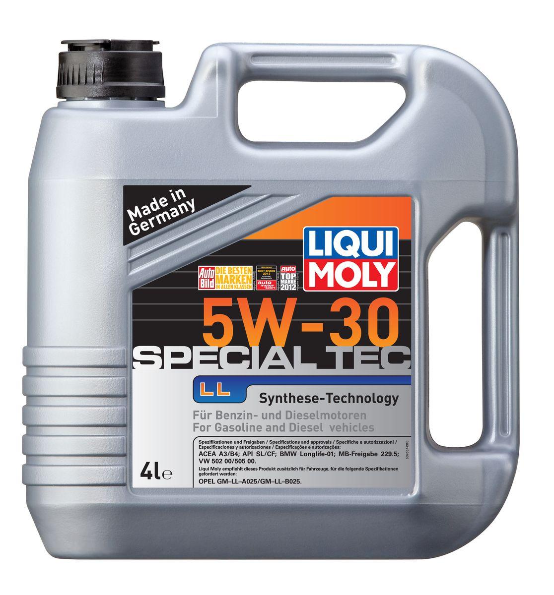Масло моторное Liqui Moly Special Tec LL, НС-синтетическое, 5W-30, 4 л7654Масло моторное Liqui Moly Special Tec LL рекомендуется для широкого спектра автомобилей с высочайшими требованиями к свойствам моторного масла, таких как Mercedes-Benz, BMW, VW, Opel. HC-синтетическое всесезонное маловязкое моторное масло произведено по новейшим технологическим требованиям. Удовлетворяет условиям LongLife-сервиса. Масло протестировано на турбированных и оснащенных катализаторами моторах. Может использоваться и в двигателях Opel предыдущих поколений, в которых разрешено применение моторных масел данного класса вязкости. Благодаря комбинации НС-синтетических базовых масел и самых современных присадок моторные масла Special Tec LL обеспечивают высочайший уровень защиты от износа, предотвращают образование и накопление отложений в масляной системе и гарантируют стабильное быстрое поступление масла ко всем деталям двигателя. Масло имеет высокий показатель щелочного числа (TBN > 10,5 мг(KOH)/г), что обеспечивает высочайшие моющие свойства. ...