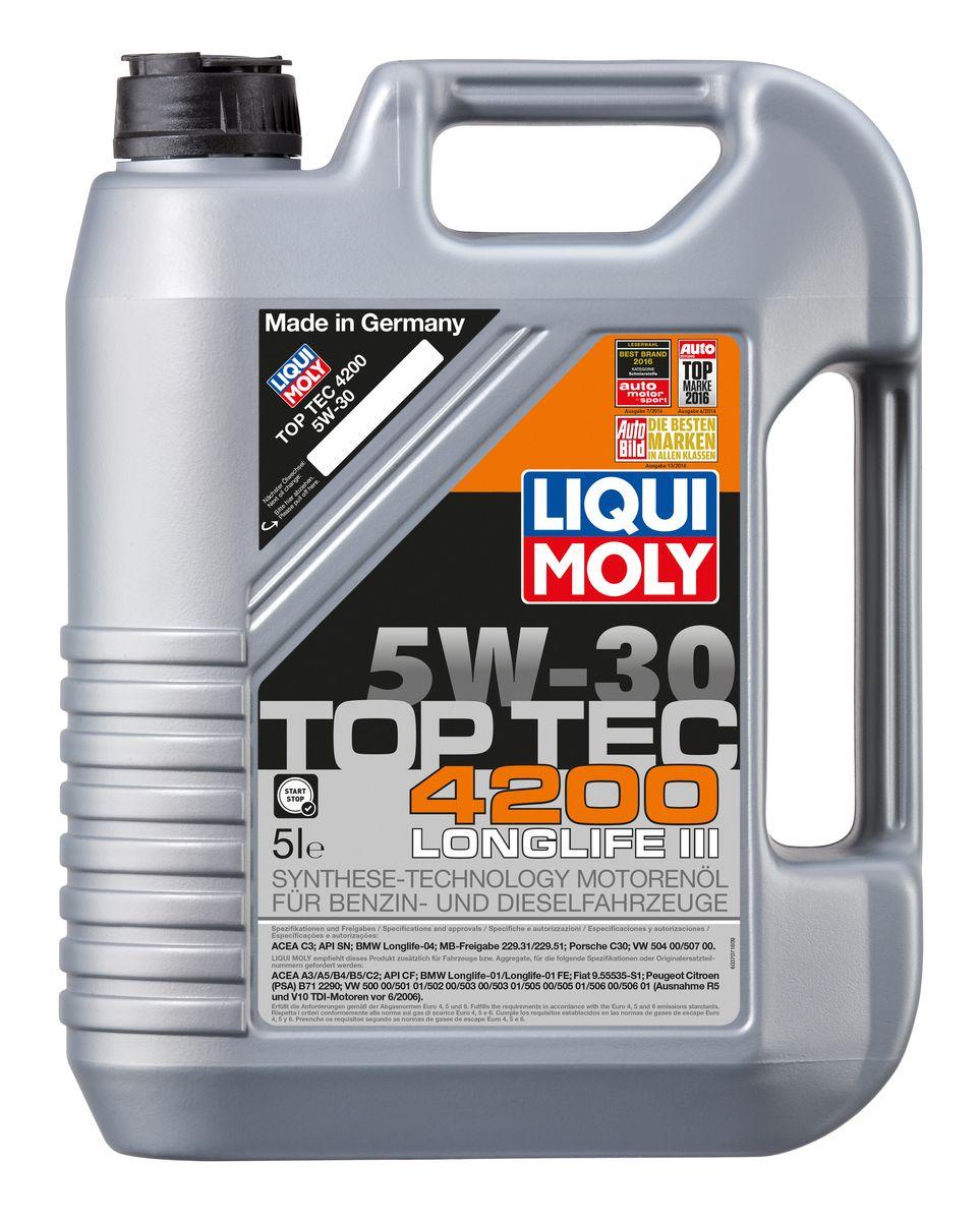Масло моторное Liqui Moly Top Tec 4200, НС-синтетическое, 5W-30, 5 л7661Масло моторное Liqui Moly Top Tec 4200 рекомендуется для широкого круга современных двигателей европейских автопроизводителей, таких как Volkswagen-Audi (за исключением R5 TDI и V10 TDI, выпущенных до 06.2006, для которых подходит Synthoil Longtime Plus 0W-30); Mercedes-Benz; BMW; Fiat (дизели с 2008 модельного года); Mitsubishi, Peugeot/ Citroen (с модельного года 1999). Отлично подходит для большинства современных дизельных автомобилей корейского производства с сажевыми фильтрами (DPF). HC-синтетическое малозольное (Mid SAPS) моторное масло для двигателей легковых автомобилей, оснащенных двойной системой нейтрализации отработавших газов (в том числе DPF). Соответствует экологическим нормам EURO 4 и выше. В моторных маслах Top Tec используются базовые компоненты, произведенные по новейшим технологиям синтеза и отличающиеся высочайшими защитными свойствами. Масла содержат специальный пакет присадок с пониженным содержанием соединений серы, фосфора и хлора, что...