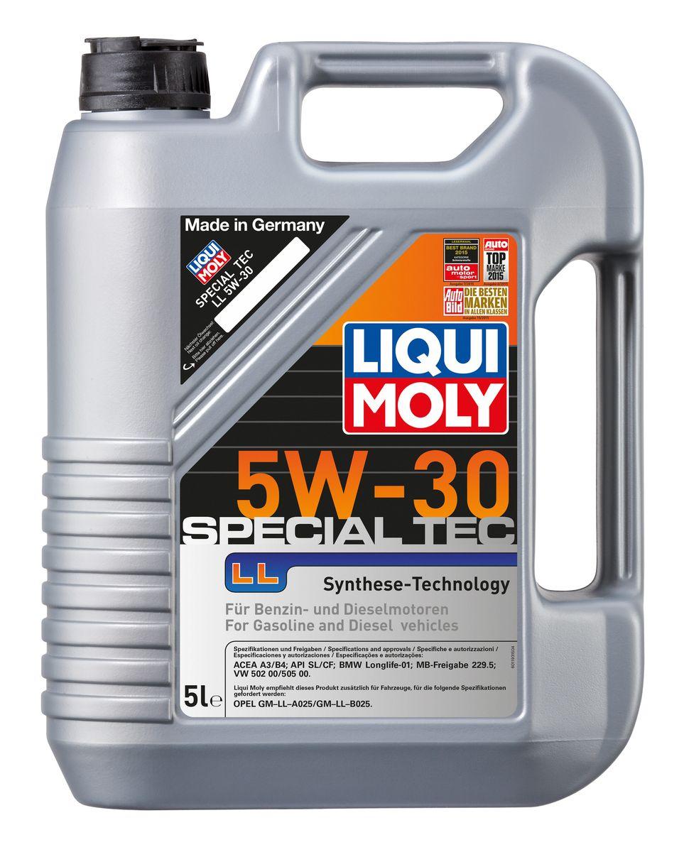 Масло моторное Liqui Moly Special Tec LL, НС-синтетическое, 5W-30, 5 л8055Масло моторное Liqui Moly Special Tec LL рекомендуется для широкого спектра автомобилей с высочайшими требованиями к свойствам моторного масла, таких как Mercedes-Benz, BMW, VW, Opel. HC-синтетическое всесезонное маловязкое моторное масло произведено по новейшим технологическим требованиям. Удовлетворяет условиям LongLife-сервиса. Масло протестировано на турбированных и оснащенных катализаторами моторах. Может использоваться и в двигателях Opel предыдущих поколений, в которых разрешено применение моторных масел данного класса вязкости. Благодаря комбинации НС-синтетических базовых масел и самых современных присадок моторные масла Special Tec LL обеспечивают высочайший уровень защиты от износа, предотвращают образование и накопление отложений в масляной системе и гарантируют стабильное быстрое поступление масла ко всем деталям двигателя. Масло имеет высокий показатель щелочного числа (TBN > 10,5 мг(KOH)/г), что обеспечивает высочайшие моющие свойства. ...