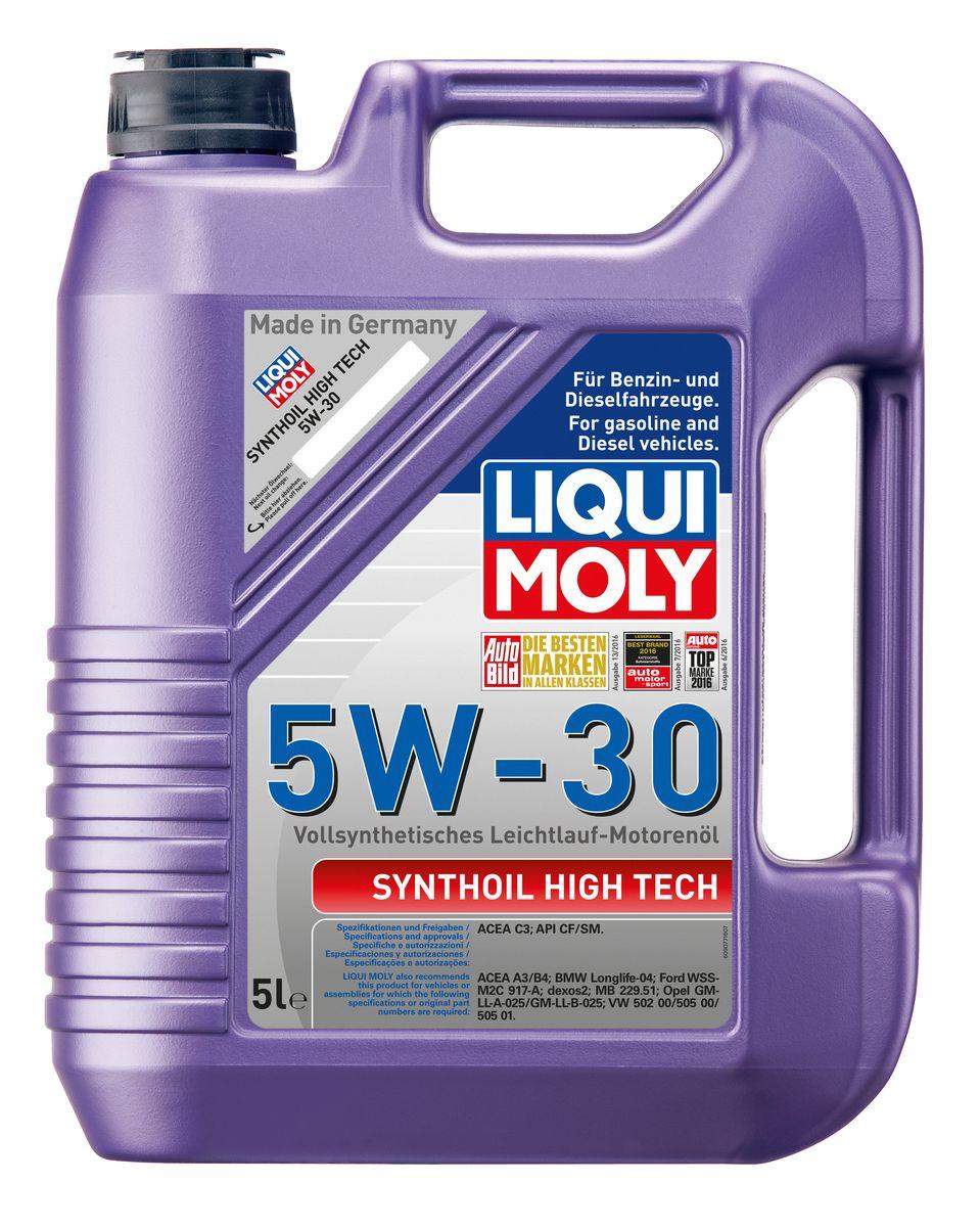 Масло моторное Liqui Moly Synthoil High Tech, синтетическое, 5W-30, 5 л9077Масло моторное Liqui Moly Synthoil High Tech - 100% синтетическое универсальное моторное масло на базе полиальфаолефинов (ПАО) для большинства автомобилей, для которых требования к маслам опираются на международные классификации API и ACEA. Популярнейший класс вязкости для всех современных автомобилях. Благодаря новейшему классу ACEA C3 моторное масло отлично подходит для автомобилей с сажевыми фильтрами. Использование современных, полностью синтетических базовых масел (ПАО) и передовых технологий в области разработок присадок гарантирует низкую вязкость масла при низких температурах, высокую надежность масляной пленки. Моторные масла линейки Synthoil предотвращают образование отложений в двигателе, снижают трение и надежно защищают от износа. Особенности: - Быстрое поступление масла к трущимся деталям при низких температурах - Высокая защита двигателя от износа - Замечательная термоокислительная стабильность и устойчивость к старению -...