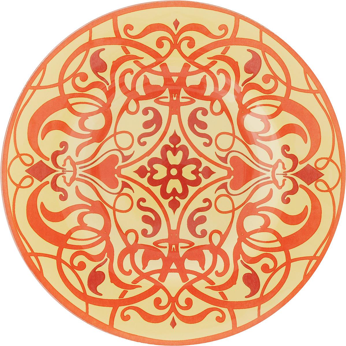Тарелка Zibo Shelley Золотой узор-2, диаметр 20 смZSS3008A-2Круглая тарелка Zibo Shelley Золотой узор-2, изготовленная из стекла, декорирована ярким узором. Она не только украсит сервировку вашего стола и подчеркнет прекрасный вкус хозяйки, но и станет отличным подарком. Можно использовать в посудомоечной машине и СВЧ. Диаметр: 20 см. Высота: 1,5 см.