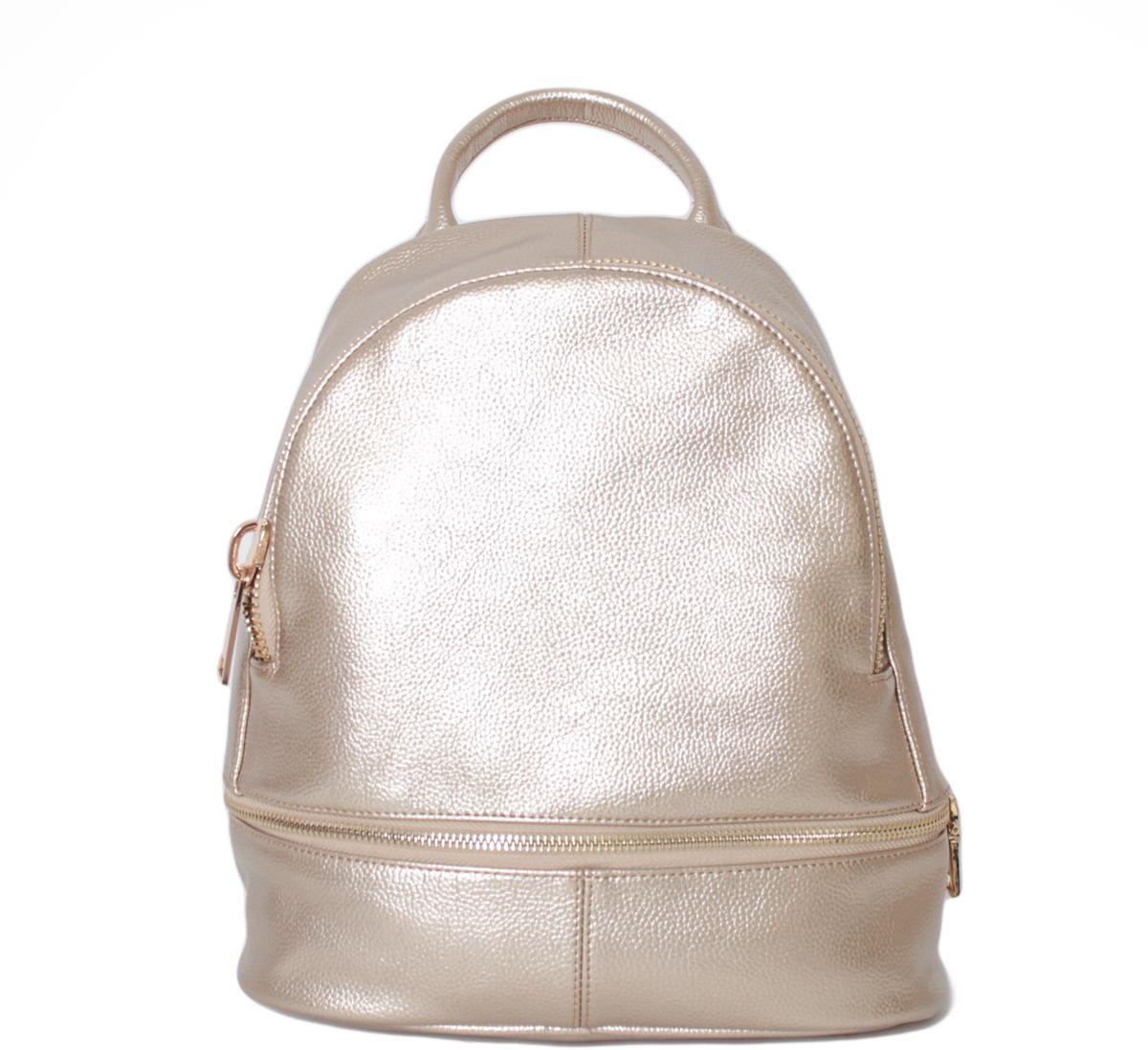Рюкзак женский Flioraj, цвет: золотой. 21362136 goldСнаружи два кармана на молнии. Внутри одно отделение, один карман на молнии. Высота ручки - 7 см.
