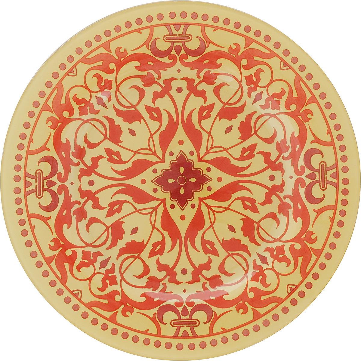 Тарелка Zibo Shelley Золотой узор-1, диаметр 25 смZSS3010A-1Круглая тарелка Zibo Shelley Золотой узор-1, изготовленная из стекла, декорирована ярким узором. Она не только украсит сервировку вашего стола и подчеркнет прекрасный вкус хозяйки, но и станет отличным подарком. Можно использовать в посудомоечной машине и СВЧ. Диаметр: 25 см. Высота: 1,5 см.
