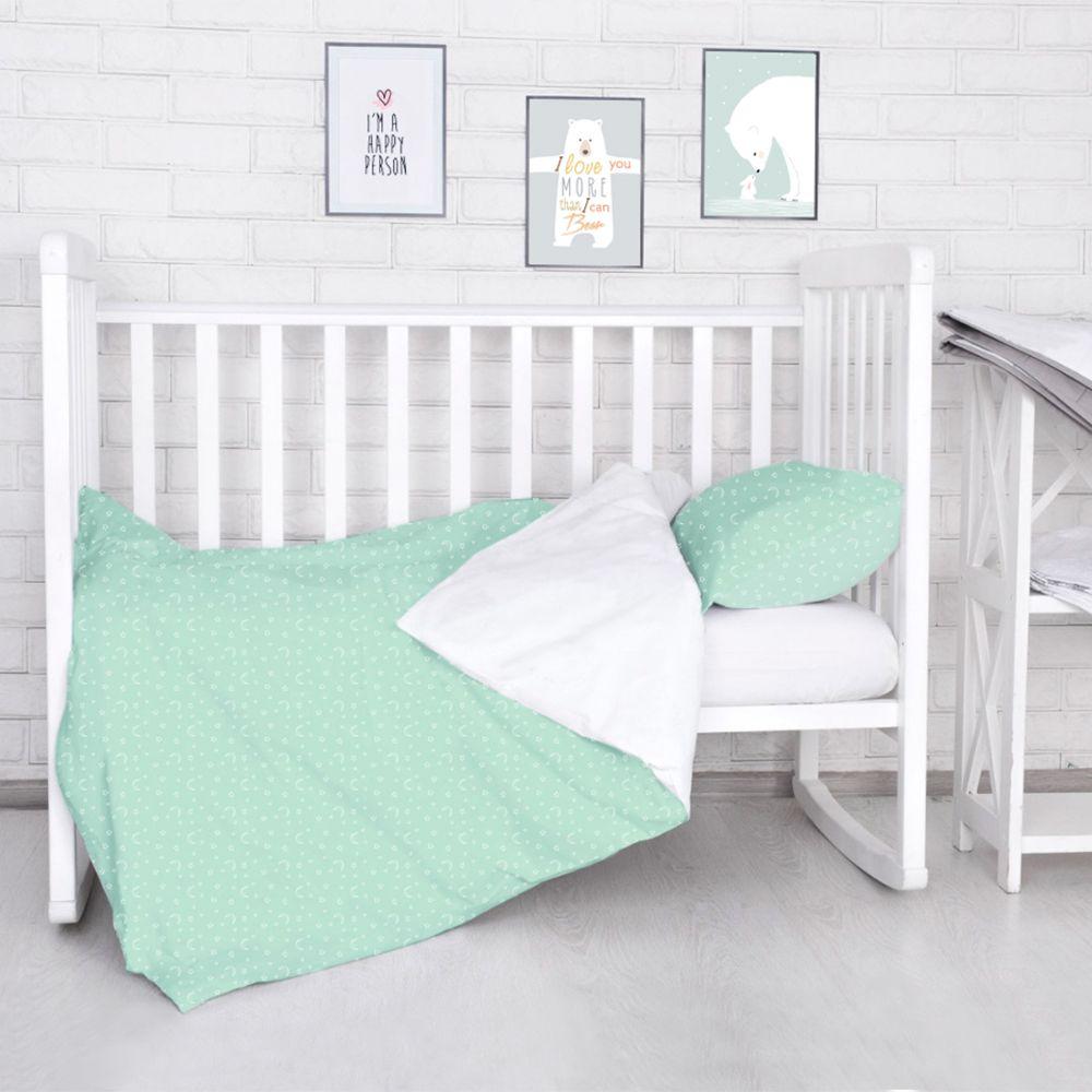 Комплект постельного белья детский Baby Nice Луны Звездочки цвет салатовый