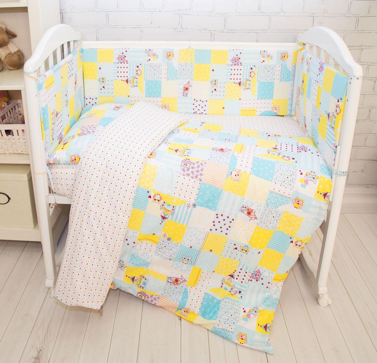 Споки Ноки Комплект белья для новорожденных Совы цвет голубой
