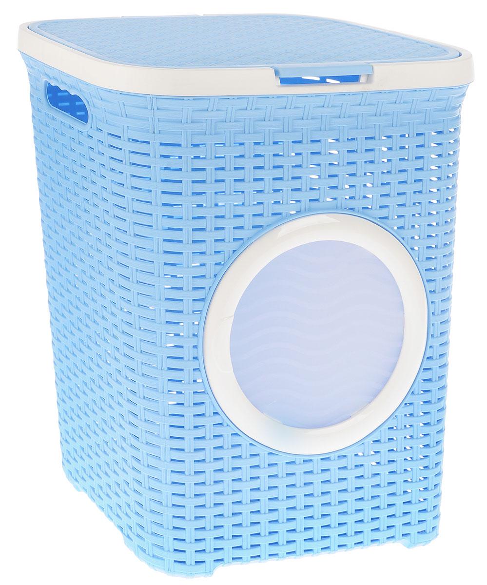 Корзина для белья Violet, с крышкой, цвет: голубой, белый, 40 л. 1841/31841/3_голубойВместительная корзина для белья Violet изготовлена из прочного цветного пластика и декорирована отверстием в виде иллюминатора. Она отлично подойдет для хранения белья перед стиркой. Специальные отверстия на стенках создают идеальные условия для проветривания. Изделие оснащено крышкой и двумя эргономичными ручками для переноски. Такая корзина для белья прекрасно впишется в интерьер ванной комнаты.