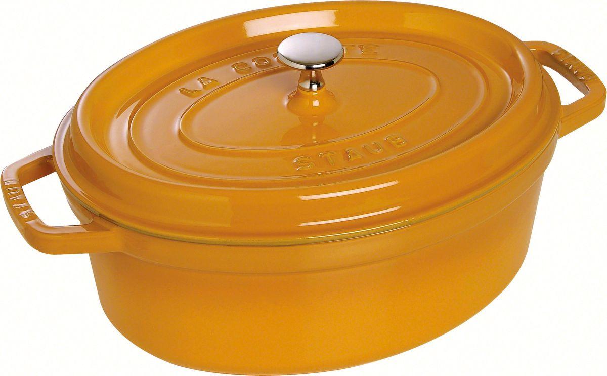 Кокот Staub, овальный, цвет: горчичный, 5,5 л1103112Изготовлена из чугуна, покрытого эмалью снаружи и внутри. Подходит для использования на всех типах плит и в духовке. Перед первым использованием снять этикетки, тщательно вымыть горячей водой с мыльным средством и высушить, затем нанести немного растительного масла на внутреннюю поверхность посуды, излишки масла удалить салфеткой. Мыть жидким моющим средством, без применения абразивных веществ и металлических губок. Пригодна для мытья в посудомоечной машине. При падении на твердую поверхность посуда может треснуть или разбиться. Металлические кухонные принадлежности могут повредить посуду. Избегать резкого нагревания и охлаждения, резкий перепад температуры может привести к повреждению посуды. Чтобы не обжечься, пользуйтесь прихватками.Адрес изготовителя:Zwilling Staub France S.A.S, 47 bis, rue des Vinaigriers, 75010 Paris, FRANCE (Цвиллинг Стауб Франс С.А.С 47 бис, ру де Винаигриерс, 75010 Париж, Франция)