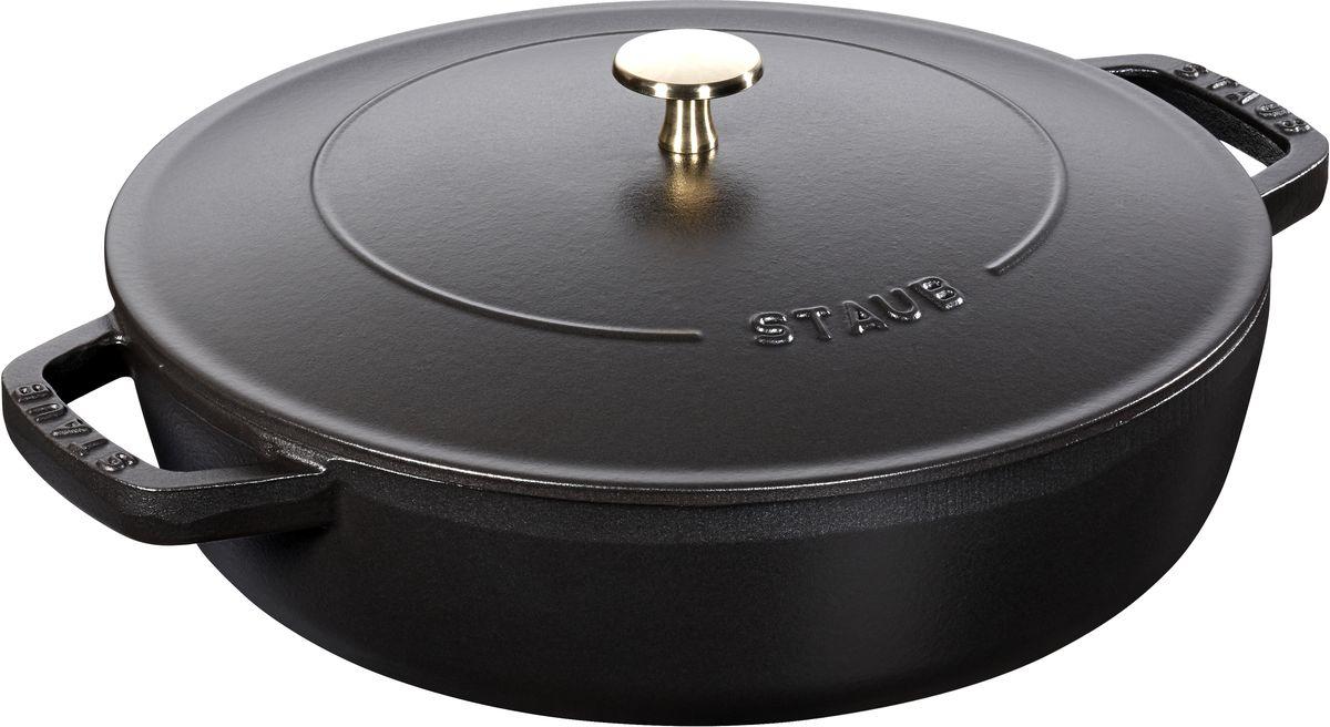 Сотейник Staub Чистера с крышкой, цвет: черный, 2,4 л12612425Изготовлен из чугуна, покрытого эмалью снаружи и внутри. Подходит для использования на всех типах плит и в духовке. Перед первым использованием снять этикетки, тщательно вымыть горячей водой с мыльным средством и высушить, затем нанести немного растительного масла на внутреннюю поверхность посуды, излишки масла удалить салфеткой. Мыть жидким моющим средством, без применения абразивных веществ и металлических губок. Пригоден для мытья в посудомоечной машине. При падении на твердую поверхность посуда может треснуть или разбиться. Металлические кухонные принадлежности могут повредить посуду. Чтобы не обжечься, пользуйтесь прихватками.Избегать резкого нагревания и охлаждения, резкий перепад температуры может привести к повреждению посуды.Адрес изготовителя:Zwilling Staub France S.A.S, 47 bis, rue des Vinaigriers, 75010 Paris, FRANCE (Цвиллинг Стауб Франс С.А.С 47 бис, ру де Винаигриерс, 75010 Париж, Франция)