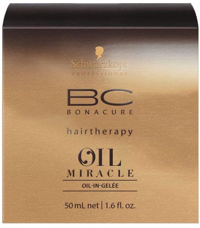 Bonacure Oil Miracle Масляное Желе 50 мл2075229Масло-желе для дисциплины волос. Содержит богатую комбинацию масел, которые позволяют добиться контроля электризации, облегчить расчесывание и разгладить непослушные волосы. Предлагает все преимущества масел Арганы, Марулы, Берберийской фиги и Розы, дополненных гидролизованным кератином и катионоактивными компонентами