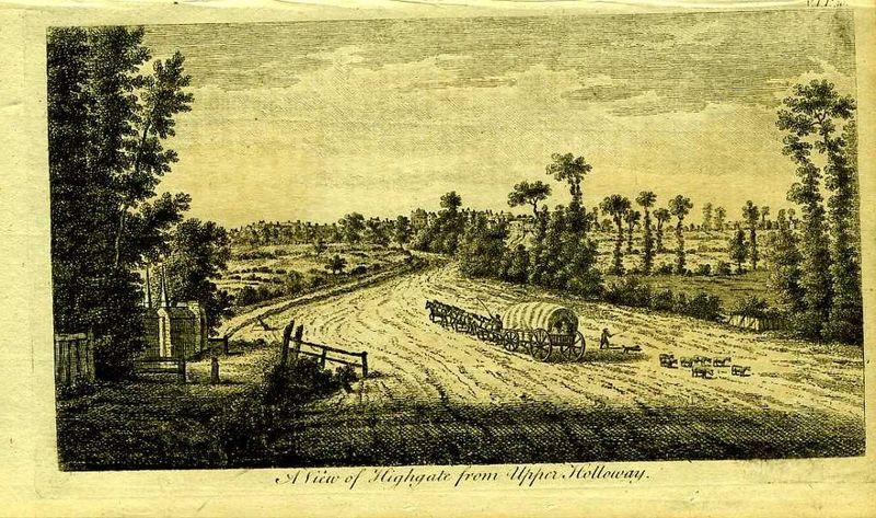 Англия. Вид на деревеньку Хайгейт в Большом Лондоне. Резцовая гравюра. Англия, Лондон, 1776 год