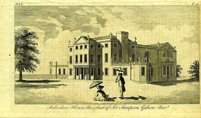 Англия. Бельведер-хаус, поместье сэра Самсона Гидеона. Резцовая гравюра. Англия, Лондон, 1776 год
