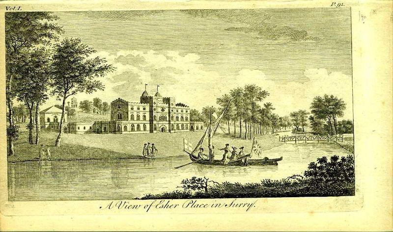 Англия. Вид на местечко Эшер в графстве Суррей. Резцовая гравюра. Англия, Лондон, 1776 год