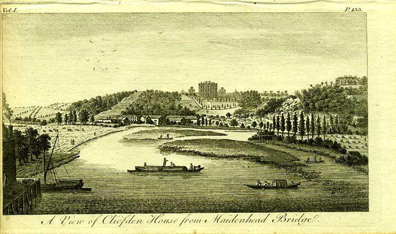 Англия. Вид на Клифден-хаус с Мейденхедского моста. Резцовая гравюра. Англия, Лондон, 1776 год