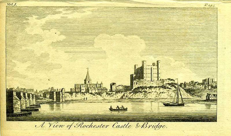 Англия. Вид на замок Рочестер и мост в графстве Кент. Резцовая гравюра. Англия, Лондон, 1776 год