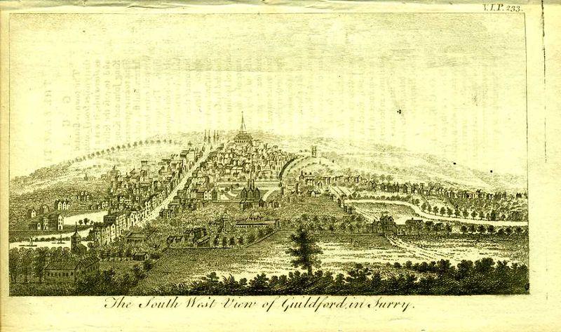 Англия. Вид на город Гилфорд в графстве Суррей. Резцовая гравюра. Англия, Лондон, 1776 год