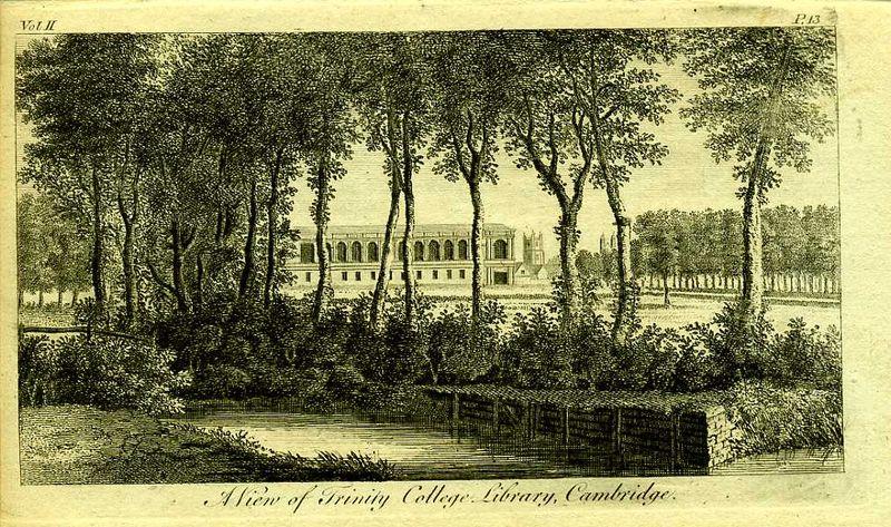 Англия. Вид на здание библиотеки Тринити-Колледжа в Кембридже. Резцовая гравюра. Англия, Лондон, 1776 год