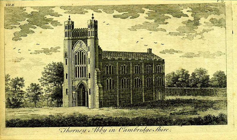 Англия. Аббатство Торни в графстве Кембриджшир. Резцовая гравюра. Англия, Лондон, 1776 год