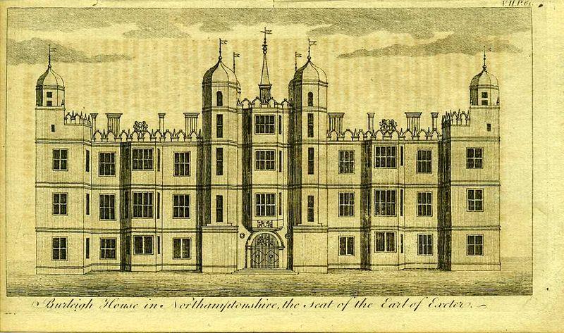 Англия. Берли-хаус в Нортгемптоншире, поместье графа Эксетер. Резцовая гравюра. Англия, Лондон, 1776 год