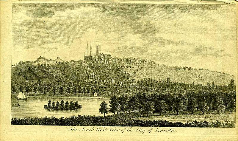 Англия. Вид на город Линкольн в графстве Линкольншир. Резцовая гравюра. Англия, Лондон, 1776 год
