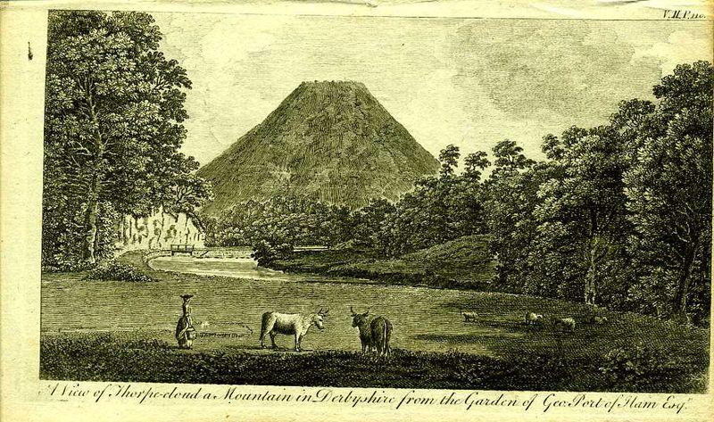 Англия. Вид на гору Торп Клауд в графстве Дербишир. Резцовая гравюра. Англия, Лондон, 1776 год