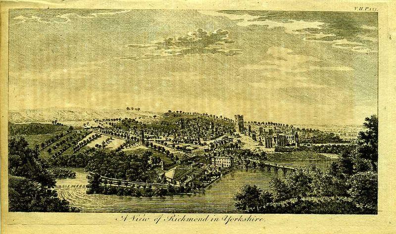 Англия. Вид на город Ричмонд в графстве Йоркшир. Резцовая гравюра. Англия, Лондон, 1776 год