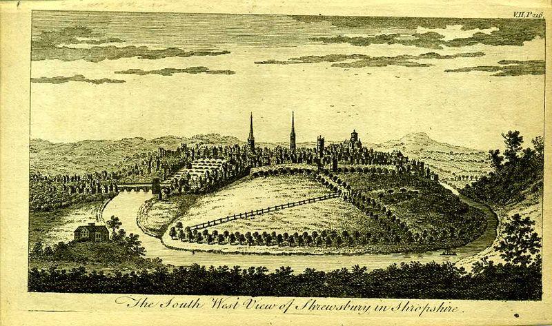 Англия. Вид на город Шрусбери в графстве Шропшир. Резцовая гравюра. Англия, Лондон, 1776 год