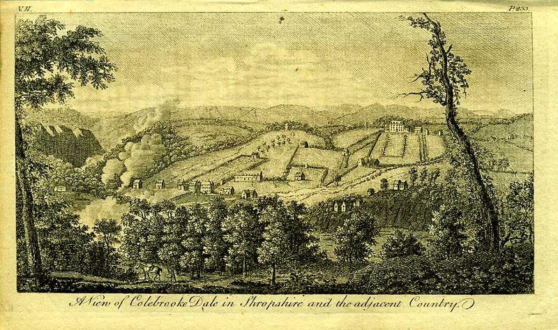 Англия. Вид на Кольбрук Дейл в графстве Шропшир. Резцовая гравюра. Англия, Лондон, 1776 год