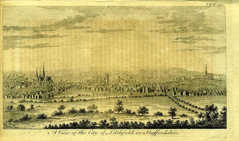 Англия. Вид на город Личфилд в графстве Стаффордшир. Резцовая гравюра. Англия, Лондон, 1776 год