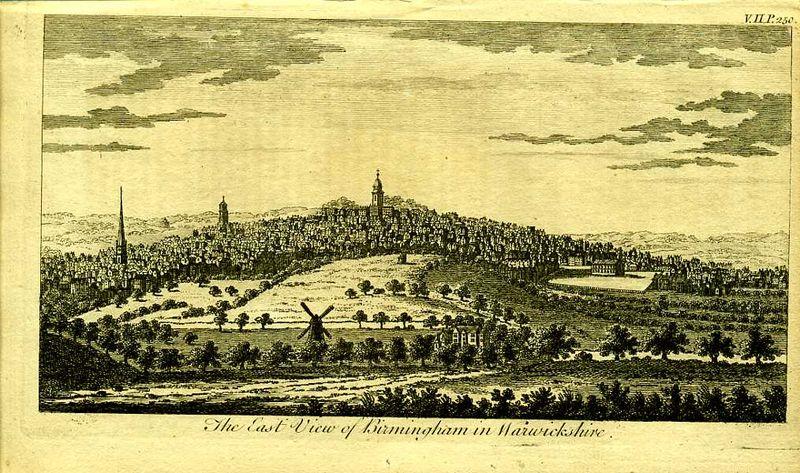 Англия. Вид на город Бирмингем в графстве Уорвикшир. Резцовая гравюра. Англия, Лондон, 1776 год