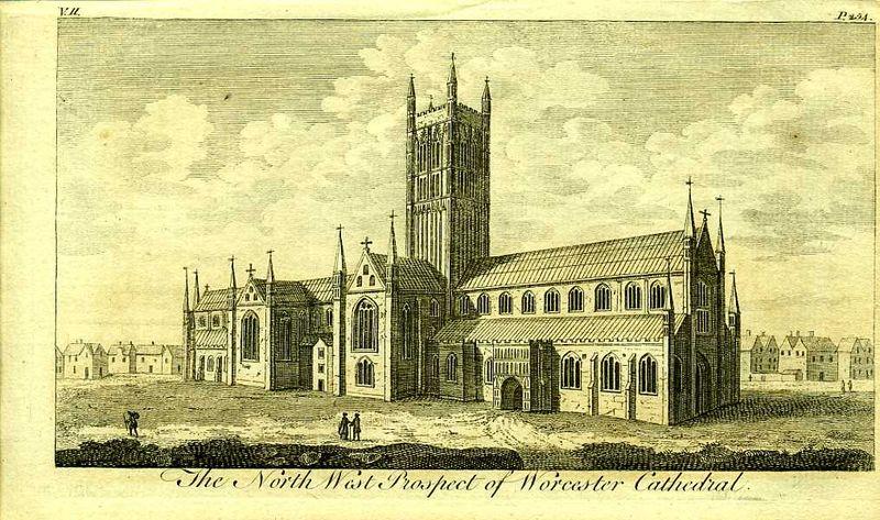Англия. Вид на Кафедральный собор Уорчестера. Резцовая гравюра. Англия, Лондон, 1776 год