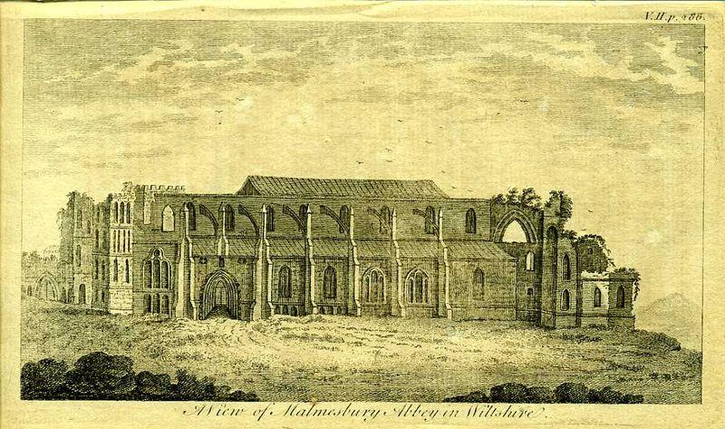 Англия. Аббатство Малмсбери в графстве Уолтшир. Резцовая гравюра. Англия, Лондон, 1776 год