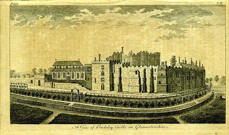 Англия. Вид на замок Баркли в графстве Глочестершир. Резцовая гравюра. Англия, Лондон, 1776 год