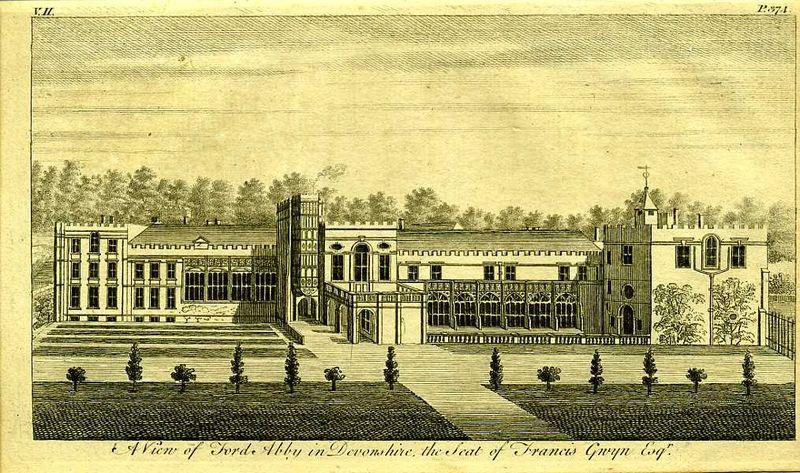 Англия. Вид на аббатство Форд в графстве Девоншир. Резцовая гравюра. Англия, Лондон, 1776 год