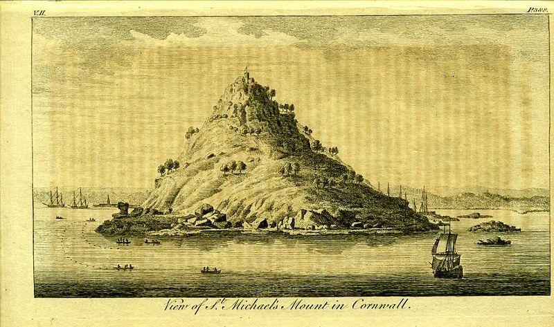 Англия. Вид на гору Сен-Майкл в графстве Корнуолл. Резцовая гравюра. Англия, Лондон, 1776 год