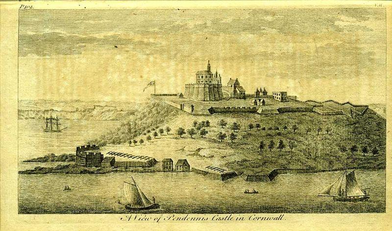 Англия. Вид на замок Пенденнис в графстве Корнуолл. Резцовая гравюра. Англия, Лондон, 1776 год