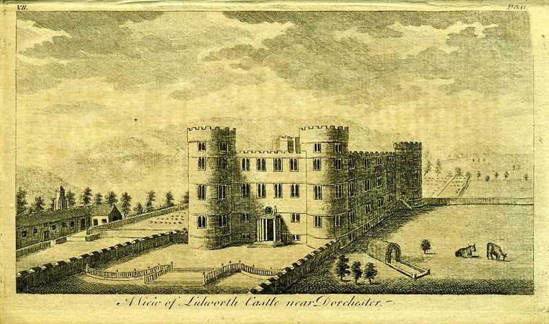 Англия. Вид на замок Лулуорт около города Дорчестер. Резцовая гравюра. Англия, Лондон, 1776 год
