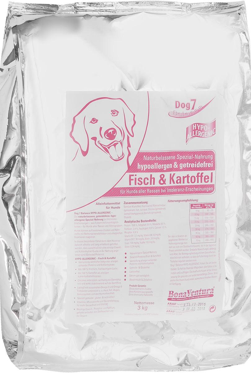 Корм сухой BonaVentura Dog 7 Hipo Allergenic для собак, гипоаллергенный, с рыбой и картофелем, 3 кг205603Натуральный гиппоалергенный корм для собак BonaVentura Dog 7 Hipo Allergenic произведен из продуктов, пригодных в пищу человека по специальной технологии, схожей с технологией Sous Vide. Благодаря технологии при изготовлении сохраняются все натуральные витамины и минералы. Это достигается благодаря бережной обработке всех ингредиентов при температуре менее 80 градусов. Такая бережная обработка продуктов не стерилизует продуктовые компоненты. Благодаря этому корма не нуждаются ни в каких дополнительных вкусовых добавках и сохраняют все необходимые полезные вещества. При производстве кормов используются исключительно свежие натуральные продукты: мясо, овощи и зерновые; Приготовлено из 100% свежего мяса, пригодного в пищу человеку; Содержит натуральные витамины, аминокислоты, минеральные вещества и микроэлементы; С экстрактом масла зародышей зерна пшеницы холодного отжима (Bio-Dura); Без химических красителей, усилителей вкуса, искусственных консервантов...