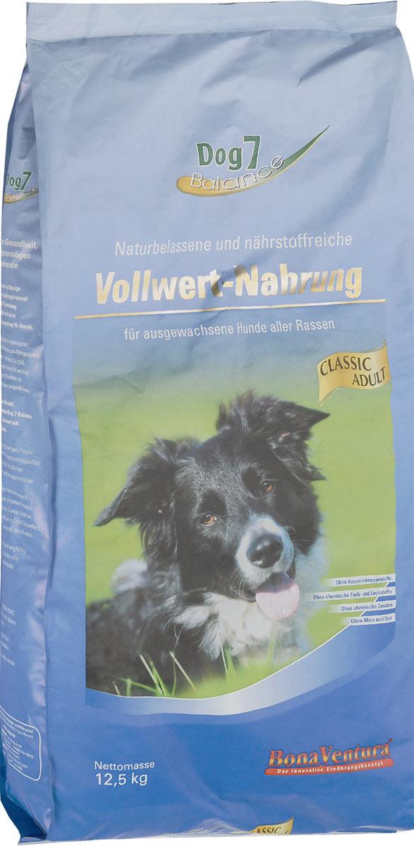 Корм сухой BonaVentura Dog 7 Adult для собак, сбалансированный, 12,5 кг205112Натуральный сбалансированный корм для собак BonaVentura Dog 7 Adult произведен из продуктов, пригодных в пищу человека по специальной технологии, схожей с технологией Sous Vide. Благодаря технологии при изготовлении сохраняются все натуральные витамины и минералы. Это достигается благодаря бережной обработке всех ингредиентов при температуре менее 80 градусов. Такая бережная обработка продуктов не стерилизует продуктовые компоненты. Благодаря этому корма не нуждаются ни в каких дополнительных вкусовых добавках и сохраняют все необходимые полезные вещества. При производстве кормов используются исключительно свежие натуральные продукты: мясо, овощи и зерновые; Приготовлено из 100% свежего мяса, пригодного в пищу человеку; Содержит натуральные витамины, аминокислоты, минеральные вещества и микроэлементы; С экстрактом масла зародышей зерна пшеницы холодного отжима (Bio-Dura); Без химических красителей, усилителей вкуса, искусственных консервантов и...