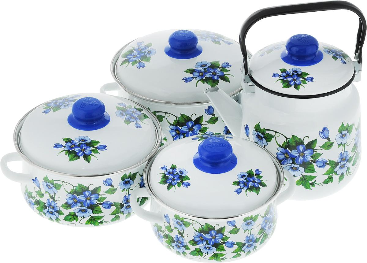 Набор посуды Эмаль Забава, цвет: белый, синий, зеленый, 8 предметов7-307/6Набор посуды Эмаль Забава состоит из 3 кастрюль и чайника с крышками. Изделия выполнены из качественной эмалированной стали. Эмаль защищает сталь от коррозии, придает посуде гладкую поверхность и надежно защищает от кислот и щелочей. Эмаль устойчива к пищевым кислотам, не вступает во взаимодействие с продуктами и не искажает их вкусовые качества. Прочный стальной корпус обеспечивает эффективную тепловую обработку пищевых продуктов и не деформируется в процессе эксплуатации. Внешняя поверхность изделий оформлена красочным цветочным изображением. Кастрюли и чайник снабжены стальными крышками с удобными пластиковыми ручками. Чайник имеет прочную подвижную металлическую ручку. Посуда подходит для газовых, электрических, стеклокерамических и индукционных плит. Объем кастрюль: 2 л; 3 л; 4 л. Диаметр кастрюль (по верхнему краю): 19 см; 21 см; 23 см. Ширина кастрюль (с учетом ручек): 24 см; 26 см; 28 см. Высота стенки кастрюль:...